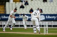 Yorkshire Jonny Bairstow  is bowled by Warwickshire Chris Woakes  during the Specsavers County Champ Div 1 match between Warwickshire County Cricket Club and Yorkshire County Cricket Club at Edgbaston, Birmingham, United Kingdom on 24 April 2016. Photo by Simon Davies.