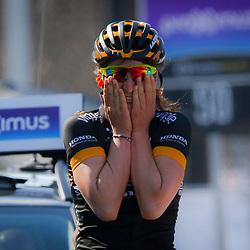 05-04-2015: Wielrennen: Ronde van Vlaanderen vrouwen: BelgieOUDENAARDE (BEL) cyclingThe 3th race in the UCI womens World Cup is the 12th edition of the Ronde van Vlaanderen. The race distance is 145 km with 12 Climbs and 5 zones of Cobbles.  After a solo of almost 30 km Italian rider Elisa Longo Borghini wins the race. 2nd Jolien D'Hoore (Bel) and 3th Anna van der Breggen (Ned)
