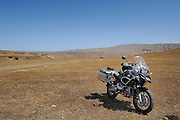 2009 BMW R1200GS Adventure motorcycle in hills of central California near Mojave desert.