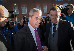 © Licensed to London News Pictures. 28/11/2016. London, UK. Nigel Farage arrives at the Emmanuel Centre in Westminster London - before Paul Nuttall was announced as the new leader of the UK Independence Party (UKIP). Photo credit: Peter Macdiarmid/LNP