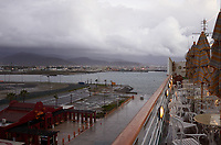 """(Image eight of nine) Panorama of the Ensenada harbor in Mexico on a grey and raining day from the deck of the MV World Odyssey. The other cruse ship is the Carnival Imagination. Once all of the students, faculty, staff, and life long learners were aboard we would be ready to begin the 102 day """"round the world"""" Semester at Sea Spring 2016 Voyage. Composite of nine images taken with a Leica T camera and 23 mm f/2 lens (ISO 250, 23 mm, f/2, 1/80 sec). Panorama stitched using AutoPano Giga Pro."""