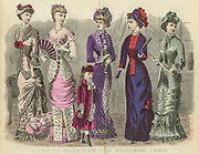 Colour drawing of Godey's women's Fashion for October 1880 from Godey's Lady's Book and Magazine, 1880 Philadelphia, Louis A. Godey, Sarah Josepha Hale,