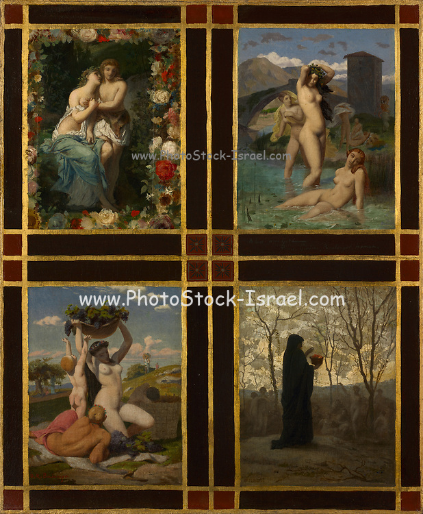 The Four Seasons (1850) by Henry Picou (French, 1824-1895) Jean-Leon Gerome (French, 1824-1904) Gustave Rodolphe Boulanger (French, 1824-1888) Jean-Louis Hamon (French, 1821-1874). Oil on fabric The artists who painted this work belonged to a group called the Neo-Grecs (New Greeks). They concentrated on depicting scenes of daily life in ancient Greece and Rome—often with an erotic slant. Here, relying on a popular Greco-Roman theme, the four works represent the seasons and their associated activities: the pursuit of love in spring; bathing in summer; harvesting grapes in fall; and a funerary ritual in winter. The decorative gold, black, and red borders also enhance the classical aspect of the work by recalling the painted wall decorations of the ancient Roman city of Pompeii. The artists painted this work for their friend, French actor Edmond Got (1822–1901). They likely presented this picture to him in commemoration of his election to the Comédie- Francaise acting company and as a memento of their friendship.