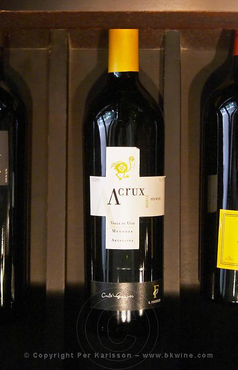 Bottle of Acrux 2001 Valle de Uco Mendoza. The O'Farrell Restaurant, Acassuso, Buenos Aires Argentina, South America