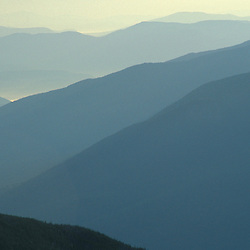 The receding ridges of the Carter Range as seen from Lion Head.  Looking northeast.  White Mountains National Forest. Mt. Washington, NH