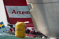 Artemis Racing (SWE) vs. Mascalzone Latino Audi Team (ITA), RR1. Both teams win one match. Dubai, United Arab Emirates, November 17th 2010. Louis Vuitton Trophy  Dubai (12 - 27 November 2010)  Sander van der Borch / Artemis Racing