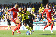 Scunthorpe United defender Cameron Borthwick-Jackson (3) makes an important tackle on Burton Albion forward Marvin Sordell (17) during the EFL Sky Bet League 1 match between Burton Albion and Scunthorpe United at the Pirelli Stadium, Burton upon Trent, England on 29 September 2018.