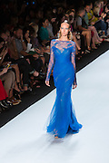 Electric blue gown with lace deails. By Monique Lhuillier at Spring 2013 Fall Fashion Week in New York.
