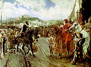 Boabdil confronted by Ferdinand and Isabella after the Fall of Granada 1492  by Francisco Pradilla y Ortiz 1882