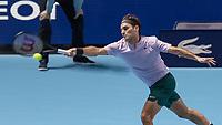 Tennis - 2017 Nitto ATP Finals at The O2 - Day Five<br /> <br /> Group Boris Becker Singles: Roger Federer (Switzerland) Vs Marin Cilic (Croatia)<br /> <br /> Roger Federer (Switzerland) stretches to reach the ball at the O2 Arena<br /> <br /> COLORSPORT/DANIEL BEARHAM