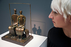 "© Licensed to London News Pictures. 28/01/2016. London, UK.   ""Maquette for King and Queen"" by Henry Moore (est. £0.8-1.2m), on display at Sotheby's preview of its upcoming Impressionist, Modern & Surrealist art sale on 3 February featuring works by some of the most important artists of the 20th century.  The combined total of the evening sale is expected to exceed £100m. Photo credit : Stephen Chung/LNP"