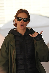 April 18, 2015 - New York, New York, U.S. - JULIA ROBERTS gestures to the photog to 'call me' on the film set of 'Money Monster' in the Financial District of Manhattan. (Credit Image: © Kristin Callahan/Ace Pictures/ZUMA Wire)