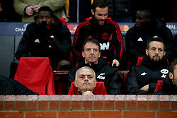 Manchester United manager Jose Mourinho (centre, front) in the dugout