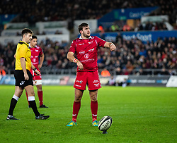 Dan Jones of Scarlets lines up a kick at goal<br /> <br /> Photographer Simon King/Replay Images<br /> <br /> Guinness PRO14 Round 11 - Ospreys v Scarlets - Saturday 22nd December 2018 - Liberty Stadium - Swansea<br /> <br /> World Copyright © Replay Images . All rights reserved. info@replayimages.co.uk - http://replayimages.co.uk