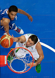 Nicolas Batum of France vs  Mantas Kalnietis of Lithuania during basketball game between National basketball teams of Lithuania and France at FIBA Europe Eurobasket Lithuania 2011, on September 9, 2011, in Siemens Arena,  Vilnius, Lithuania. France defeated Lithuania 73-67.  (Photo by Vid Ponikvar / Sportida)