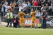 Mike Flynn and Aaron O'Connor of Newport celebrate after O'Connor scores his side's first goal. Skybet football league two match, Newport county v Rochdale at Rodney Parade in Newport, South Wales on Saturday 3rd May 2014.<br /> pic by Mark Hawkins, Andrew Orchard sports photography.