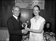 Young Dress Designer of the Year.     (M75).1979..22.05.1979..05.22.1979..22nd May 1979..The Cassidy Fabrics sponsored Young Dress Designer of the Year, make and model competition was held today in Liberty Hall,Dublin. The overall winner of the competition was Ms Marianne Byrne (15),Cabinteely,Co Dublin. Ms Byrne is a pupil at the Cabinteely Community School....Image shows Mr Michael Cassidy,Director Cassidy Fabrics, presenting the Young Dress Designer of the Year overall award to Ms Marianne Byrne.