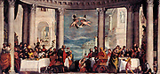 Painting of The Feast in the house of Simon the Pharisee. circa 1572. Oil on canvas. By Italian painter Paolo Veronese.