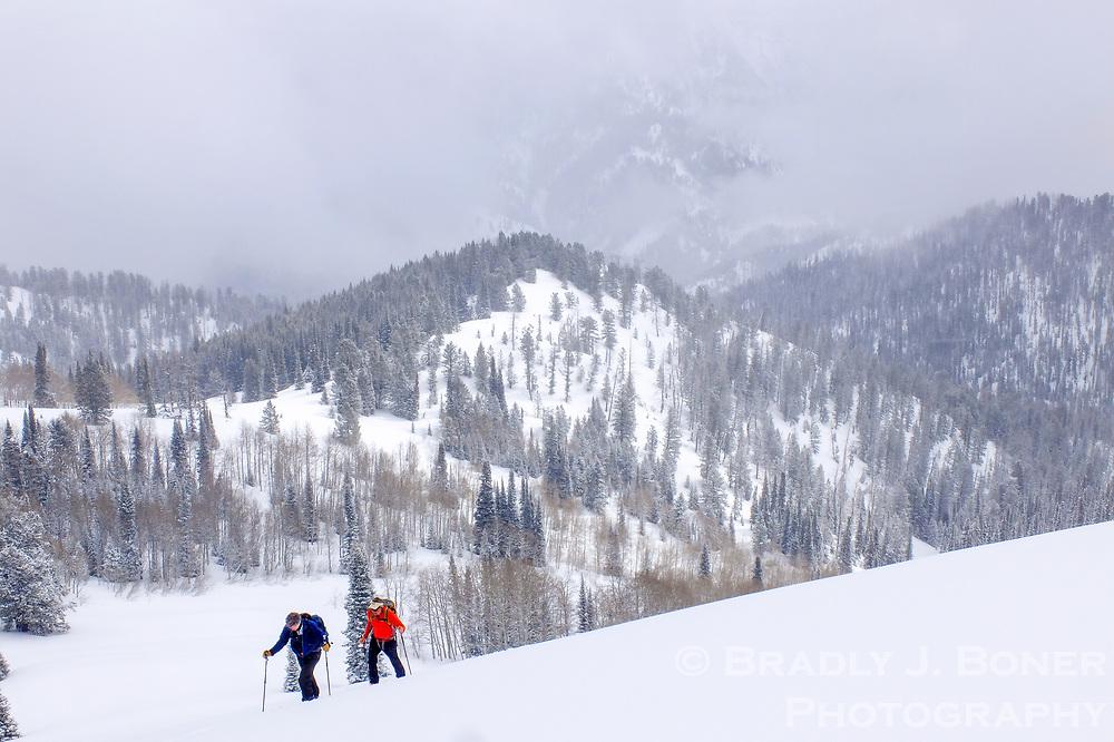 Sean Culman and Ned Corkran, both Teton Valley, Idaho, residents, make their way up a ridge during a ski excursion last week in the Teton Pass backcountry.