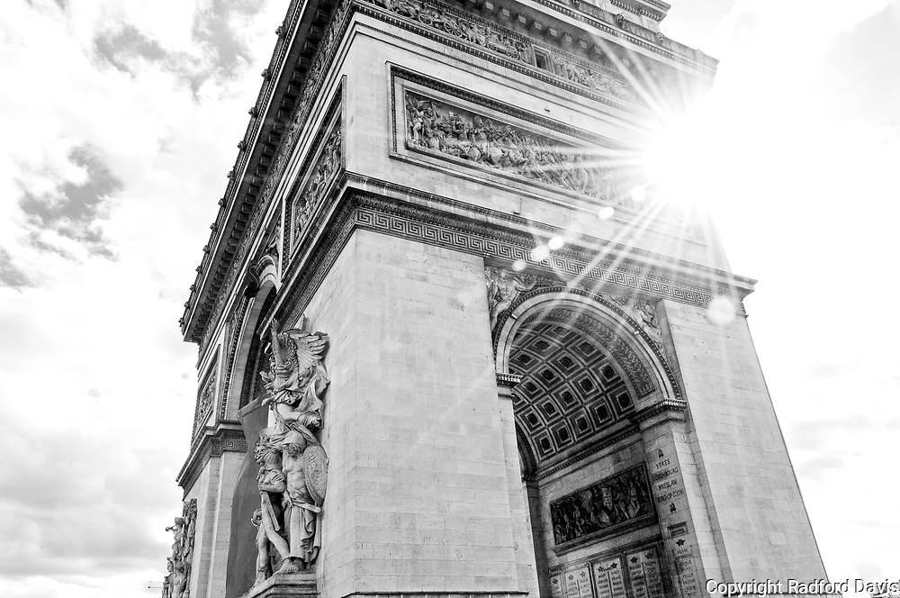 Arc de Triomphe in black and white, Paris, France