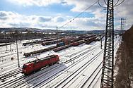 railroad shunting yard in Hagen-Vorhalle, freight trains, snow, winter, Hagen, North Rhine-Westphalia, Germany.<br /> <br /> Eisenbahn-Rangierbahnhof in Hagen-Vorhalle, Gueterzuege, Schnee, Winter, Hagen, Nordrhein-Westfalen, Deutschland.