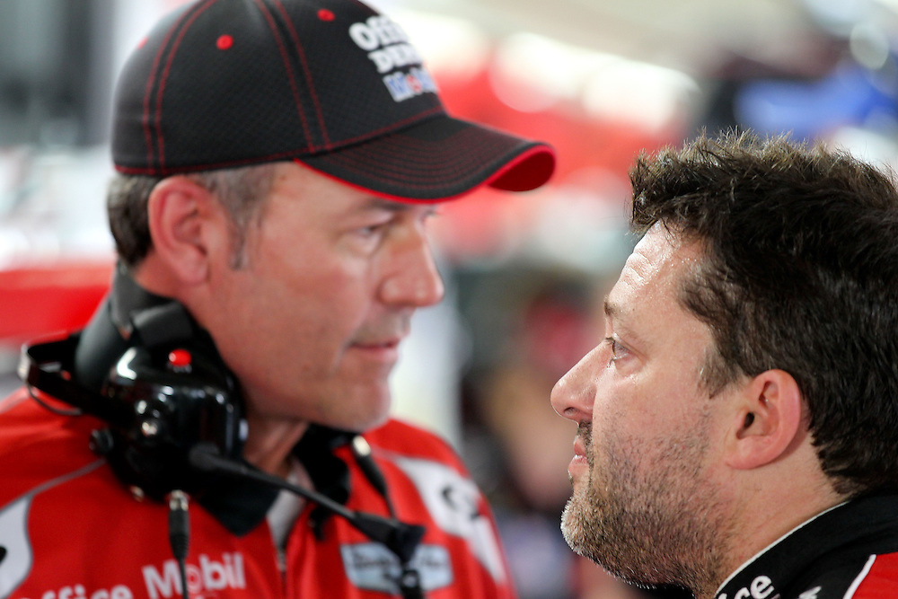 May 24, 2012; Concord, NC USA; Steve Addington, crew chief for NASCAR Sprint Cup Series driver Tony Stewart (14) during  for the Coca-Cola 600 at Charlotte Motor Speedway. Photo by Kevin Liles/kevindliles.com