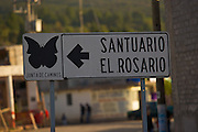 Entry to the El Rosario Monarch Butterfly Biosphere Reserve in central Mexico in Michoacan State. Each year hundreds of millions Monarch butterflies mass migrate from the U.S. and Canada to Oyamel fir forests in the volcanic highlands of central Mexico. North American monarchs are the only butterflies that make such a massive journey—up to 3,000 miles (4,828 kilometers).