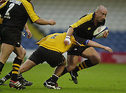 Wycombe, Bucks, Causeway Stadium,<br /> Zurich Premiership 11-11-2001<br /> London Wasps V Newcastle Falcons<br /> Wasps's, Colin Allan attachs the Newcastle line.  [Mandatory Credit;Peter SPURRIER/Intersport Image]