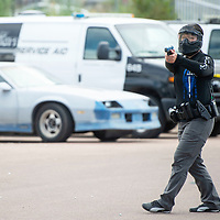 Iris Martinez, a Gallup Police Department Patrol Officer participates in reality based training called Response to Resistance, Wednesday, August 28 by the Gallup Police Department.
