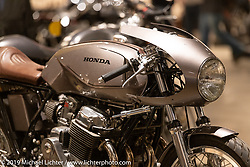Custom 1974 Honda CB-750 Cafe Racer by Raccia Motorcycles' Michael LaFountain of Santa Clarita, California. Handbuilt Show. Austin, Texas USA. Saturday, April 13, 2019. Photography ©2019 Michael Lichter.