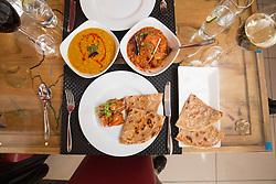 The main meal of chicken karahi with tarka daal and a plain paratha. Tam Cowan's review of the The Mumbai Mansion, 250 Morrison Street, Edinburgh.