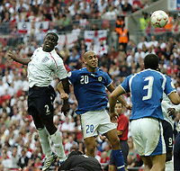 Photo: Jonathan Butler.<br /> England v Israel. UEFA European Championships Qualifying. 08/09/2007.<br /> Micah Richards scores for England.
