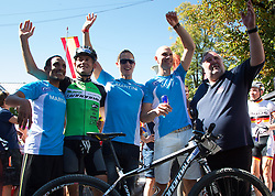 08.09.2012, Lienz, AUT, Red Bull Dolomitenmann 2012, im Bild v.l. Markus Prantl (Paragleiter,  ITA), Azarya Weldemariam ( Berglaeufer, ERI), Gerhard Schmid (Kanute),  Hannes Pallhuber (Mountainbiker, Pure Encapsulations Team, ITA, Siegerteam) und Werner Grissmann // winning team Markus f.l.t.r. Prantl (Paragleiter,  ITA), Azarya Weldemariam ( Berglaeufer, ERI), Gerhard Schmid (Kanute),  Hannes Pallhuber (Mountainbiker, Pure Encapsulations Team, ITA) and Werner Grissmann during Red Bull Dolomitenmann Lienz, Austria on 2012/09/08. EXPA Pictures © 2012, PhotoCredit: EXPA/ Johann Groder