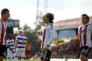 Brentford midfielder Jota (23) celebrates his goal (score 2-0) during the EFL Sky Bet Championship match between Brentford and Queens Park Rangers at Griffin Park, London, England on 22 April 2017. Photo by Andy Walter.