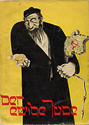 DER EWIGE JUDE, 1937, book of phtographs published by the Third Reich. Dramatic Antisemitic illustration on the cover showing  a Jew holding gold coins in one hand and a whip in the other, with the Soviet Union under his arm. Der ewige Jude ('The Eternal Jew'), 1940, was the most infamous Nazi propaganda film. It was produced at the insistence of Joseph Goebbels, under such active supervision that it is effectively his work. It depicts the Jews of Poland as corrupt, filthy, lazy, ugly, and perverse: they are an alien people which have taken over the world through their control of banking and commerce, yet which still live like animals.