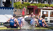 Henley-on-Thames. United Kingdom.  2017 Henley Royal Regatta, Henley Reach, River Thames. <br /> <br /> Sport Imperial, Celebrate after wing the Wyfold Challenge Cup.<br /> <br /> 12:06:52  Sunday  02/07/2017<br /> <br /> [Mandatory Credit. Intersport Images].