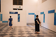 At the Vernissage of the exhibition Endless Migrations at the Reale Albergo delle Povere in the historic center of Palermo. This is a series of installations where the local  artist Carlo Lauricella  narrates the drama of migrations