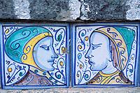 Italie. Sicile. Caltagirone. La Scalinata, escalier monumental, détail d'une marche. // Step detail of the monumental stair. caltagirone. Sicily. Italy.