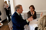 GARY TINTEROW; LADY MARLAND , Pablo Bronstein, Sketches for Regency Living. Discussion and lunch. ICA. The Mall. London. 7 June 2011. <br /> <br />  , -DO NOT ARCHIVE-© Copyright Photograph by Dafydd Jones. 248 Clapham Rd. London SW9 0PZ. Tel 0207 820 0771. www.dafjones.com.