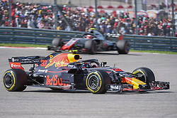 October 21, 2018 - Austin, TX, U.S. - AUSTIN, TX - OCTOBER 21: Red Bull Racing driver Max Verstappen (33) of Netherlands exits turn 1 during the F1 United States Grand Prix on October 21, 2018, at Circuit of the Americas in Austin, TX. (Photo by Ken Murray/Icon Sportswire) (Credit Image: © Ken Murray/Icon SMI via ZUMA Press)