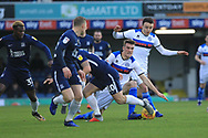 Ryan Delaney and Ollie Rathbone battle for the ball during the EFL Sky Bet League 1 match between Southend United and Rochdale at Roots Hall, Southend, England on 22 December 2018.