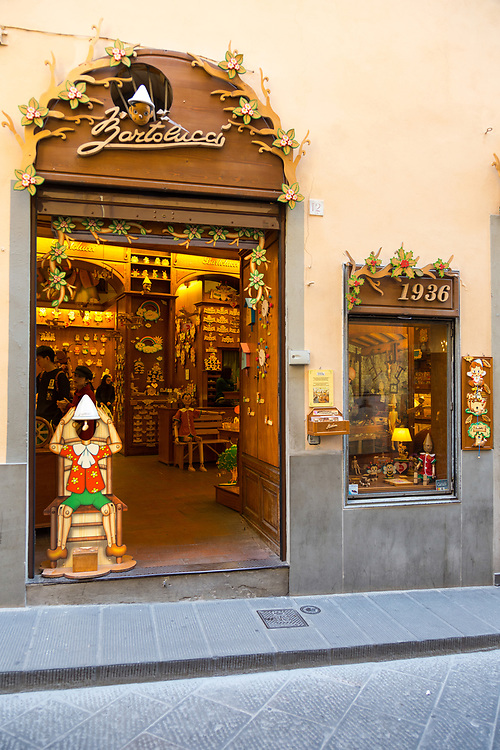The Bartolucci toy store in Florence, Italy. Bartolucci family have produced wooden toys since 1936. All toys are hand-made by expert woodworkers.