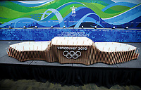 OL 2010<br /> Foto: DPPI/Digitalsport<br /> NORWAY ONLY<br /> <br /> Close look of one of the podiums that will be used during the official medals ceremonies during Vancouver 2010 Winter Olympic Games on Feb. the 2nd, 2010, unveiled at the Main Press Centre. The individual and team podiums, 23 in all, have a fluid and organic design and each one is assembled from more than 200 pieces.The wood used to build the podiums was donated by communities, First Nations, businesses, and individuals across the province and each one of these podiums has a story to tell.<br /> 2010 OLYMPIC WINTER GAMES - UNVEIL OF VICTORY CEREMONIES PODIUM AND COSTUME DESIGNS -<br /> 02FEB10 - VANCOUVER, CANADA