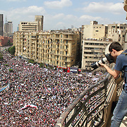 Photographer Robin Wyatt shoots aerial photos of Tahrir Square protests during the Day of Justice and Cleansing.