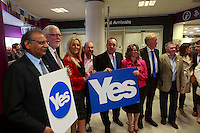 Alex Salmond join to Pro-independence business leaders inside of Edinburgh Airport.<br /> Pro-independence business leaders gather.  Brian Souter of Stagecoach, Marie MacKlin of Klin Group, Ralph Topping, former chief executive of William Hill, and Mohammed Ramzen, of United Wholesalers. Welcome to Scotland sign, International Arrivals, Edinburgh Airport.<br /> Pako Mera/Universal News And Sport (Europe) 15/09/2014