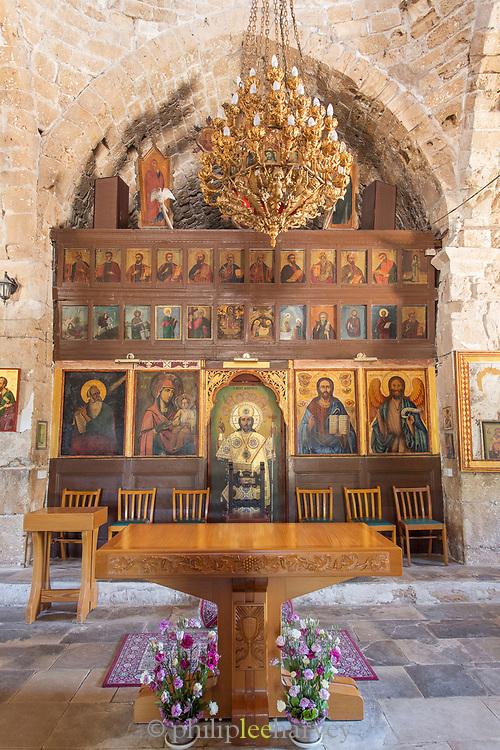 Interior of Ayia Kyriaki Chrysopolitissa church in Paphos Archaeological Park, Cyprus