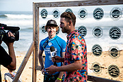 Liam Obrien of Australia advances to round two after placing first in round one heat 2 'Äãof the 2018 Hawaiian Pro at Haleiwa, Oahu, Hawaii, USA.