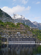 View of the Manapouri Hydroelectric Station, Lake Manapouri, Fiordland National Park, New Zealand; operated by Meridian Energy; 22 September 2012
