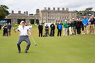 Greenisland John Armstrong sinks the winning put in the AIG Junior Cup Final at the AIG Cups & Shields National Finals, Carton House, Maynooth, Co Kildare.<br /> Picture Golffile | Fran Caffrey