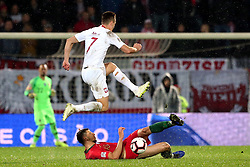 LISBON, Nov. 21, 2018  Ruben Dias (Bottom) of Portugal vies with Arkadiusz Milik of Poland during the UEFA Nations League soccer match League A Group 3 between Portugal and Poland in Guimaraes, Portugal on Nov. 20, 2018. The match ended with a 1-1 tie. (Credit Image: © Catarina Morais/Xinhua via ZUMA Wire)